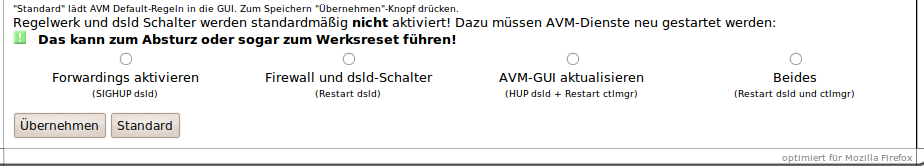 AVM firewall - Übernehmen Parameter (Trunk Version)